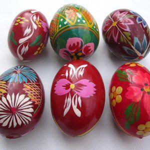 Hand Painted Easter Eggs 6 Bright Florals Red Pink